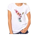 New Arrival Perfume Bottle Printed White Round Neck Short Sleeve Tee