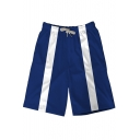 Comic Striped Printed Sport Casual Blue Relaxed Sweat Shorts for Guys