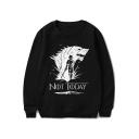 New Stylish Letter NOT TODAY Wolf Figure Printed Round Neck Long Sleeve Unisex Sweatshirt