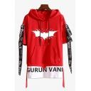 Men's Hot Fashion Letter GURUN VANI Bat Pattern Short Sleeve Fake Two-Piece Drawstring Hoodie T-Shirt