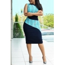 Womens Colorblock Stripe Patchwork Sleeveless Midi Bodycon Dress