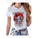 Stylish MOTHER OF DRAGONS Letter Figure Printed Short Sleeve Round Neck Modal White Graphic Tee