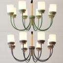 8 Lights Restaurant Pendant Light Metal 8 Lights Nordic Style Chandelier in Macaron Green/Gray