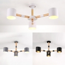 Wood Cylinder Chandelier Bathroom 3 Lights Contemporary Hanging Light in Macaron Black/White/Gray