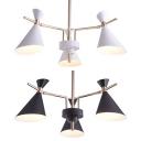 Horn Bathroom Chandelier Metal 3 Lights Contemporary Pendant Lighting in Macaron Black/White