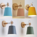 Metal Tapered Rotatable Wall Lamp Study Foyer 1 Light Contemporary Wall Sconce Light with Macaron Color