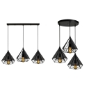 3 Lights Diamond Cage Suspension Light Antique Style Ceiling Light in Black for Kitchen