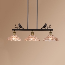 3 Lights Flower Island Light Rustic Style Clear Glass Pendant Light with Bird Decoration for Bar