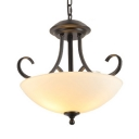 3 Lights Dome Shade Pendant Light Vintage Style Frosted Glass Ceiling Light in White for Bedroom