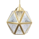 Glass Metal Polyhedron Ceiling Lamp 1 Light Colonial Style Pendant Lamp in Brass for Hallway