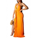 Summer Fashion Sexy Halter Plunge Neck Sleeveless Backless Plain Bow-Tied Waist Maxi Bodycon Nightclub Dress