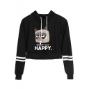 Cute Cartoon Grumpy Cat Letter HAPPY Striped Long Sleeve Cropped Hoodie