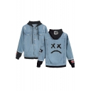 Unique Cool Sad Face Printed Long Sleeve Patched Hooded Button Down Blue Denim Jacket