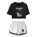 HOW ABOUT NO Cartoon Grumpy Cat Crop Tee with Dolphin Shorts Summer Casual Two-Piece Set