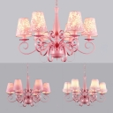 Pink Flower/Lace/Plaid Chandelier with Tapered Shade 6 Lights Metal Hanging Light for Hotel