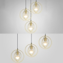 Metal Ring Pendant Light 3 Lights Antique Linear/Round Canopy Suspension Light in Gold for Cafe