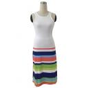 Women's Hot Fashion Round Neck Sleeveless Colorblock Stripes Printed Midi Tank White Dress
