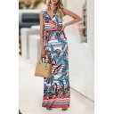 Summer New Stylish V-Neck Sleeveless Tribal Printed Bow-Tied Waist Maxi Tank Dress