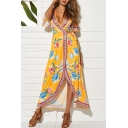 Women's Sexy V-Neck Short Sleeve Floral Printed Split Side Maxi Swing Beach Dress