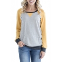 Colorblock Round Neck Raglan Patchwork Sleeve Casual Pocket Sweatshirt