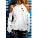 Hot Fashion Plain Cold Shoulder Long Sleeve Hollow Out Casual Pullover Sweatshirt
