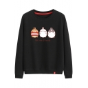 WE ARE FRIENDS Letter Cartoon Rabbits Print Round Neck Long Sleeve Cotton Sweatshirt