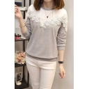 Womens Lace Patchwork Colorblock Round Neck Long Sleeve Sweatshirt