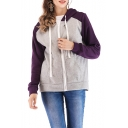 New Fashion Colorblock Long Sleeve Zip Up Drawstring Hoodie with Pockets
