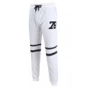 Mens Simple Number 76 Striped Printed Drawstring Waist Sport Slim Fit Trousers Pants