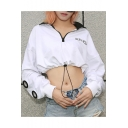 Girls Summer Hip Hop Cool Letter SUCHCUTE Printed Zipper Collar Drawcord Hem Cropped White Sweatshirt