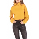 Womens Trendy Funnel Cowl Neck Striped Long Sleeve Cropped Yellow Sweatshirt
