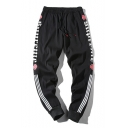 Mens New Stylish Letter Striped Side Drawstring Waist Casual Track Pants