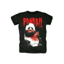 Mens Heavy Metal Blood Panda Printed Round Neck Short Sleeve Black Cotton Tee
