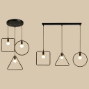 Black Wire Frame Pendant Light 3 Lights Industrial Metal Hanging Light with Linear/Round Canopy for Bar