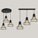 Cage Restaurant Ceiling Light Metal 3 Lights Vintage Hanging Lamp with Linear/Round Canopy in Black