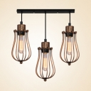 3 Lights Wire Frame Hanging Light Industrial Metal Pendant Lamp in Bronze for Dining Room