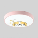 Cartoon Dog LED Flush Light Third Gear Lovely Acrylic Pink Ceiling Light for Girl Bedroom