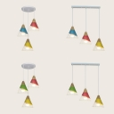 Restaurant Cone Ceiling Lamp with Wire Frame Wood 3 Lights Nordic Style Linear/Round Canopy Hanging Light