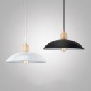 Antique Dome Shade Hanging Light Metal 1 Light Black/White Pendant Lamp for Kitchen