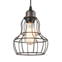 Vintage Gourd Wire Frame Pendant Light Metal 1 Light Black Hanging Light for Bar Restaurant