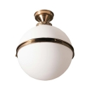 Globe Foyer Flush Mount Light Frosted Glass Single Light Modern Style Ceiling Light in White
