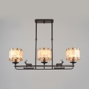 Linen Drum Shade Island Lamp with Deer Restaurant 3 Lights Rustic Suspension Light in Black