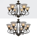 Hotel Bowl Shade Chandelier Light Opal Glass 6/8 Lights Antique Style Black Hanging Light