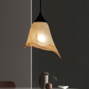 Art Deco White Suspension Light Bloom One Light Frosted Glass Pendant Lamp for Living Room