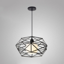 Kitchen Globe Pendant Light with Wire Frame Cage Metal 1 Light Antique Black/White Hanging Light