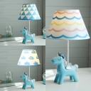 1 Light Unicorn Desk Light Macaron Resin Eye-Caring Reading Light in Blue for Study Room