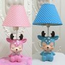 Lovely Bow Deer Reading Light Resin 1 Light Blue/Pink LED Desk Lamp with Plug In Cord for Kid Bedroom