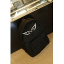 Big Capacity Fashion Angel's Wing Print Solid Color Canvas Backpack for Girls 40.5*30*13 CM