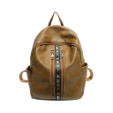 New Stylish Double Zipper Letter Patchwork Soft Leather Leisure School Bag Backpack for Girls 32*23*11 CM