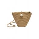 Summer Fashion Plain Pearl Embellishment Khaki Straw Crossbody Bucket Bag 21*8*15 CM